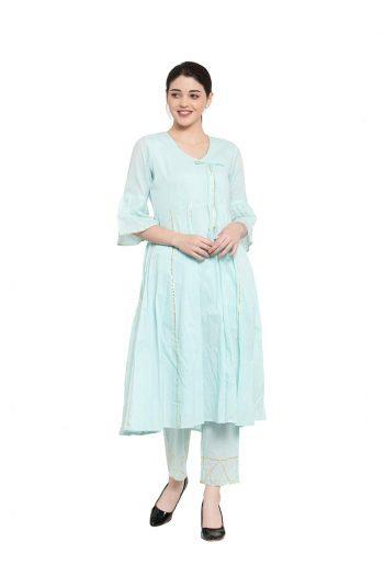 Blue Anarkali gota work suit_6